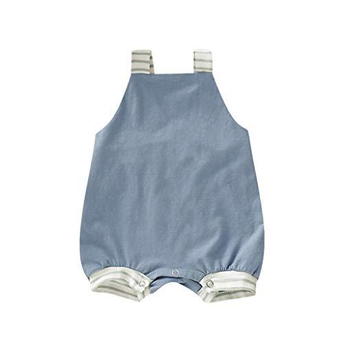 [해외]Dsood 신생아 남아 여아 스트라이프 스트랩 전체 반바지 크로스 백 민소매 롬퍼 바디수트 점프수트 의상 / Dsood Cartoon Romper Baby,Newborn Infant Baby Girl Boy Stripe Backless Romper Jumpsuit Outfits Sunsuit,Baby Boys` Costumes Blue