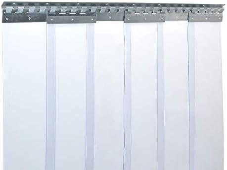 resistente a la intemperie Cortina de fleje de PVC Cortina el/ástica industrial de 2x200 mm rieles de montaje galvanizados completamente premontada protecci/ón contra salpicaduras transparente