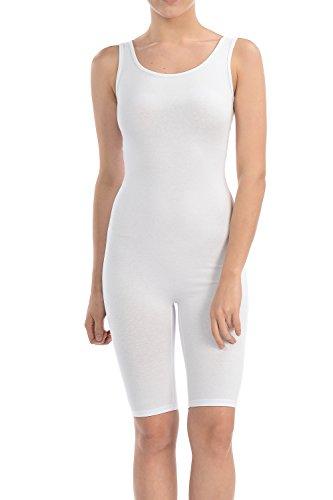 (7Wins Women Catsuit Cotton Lycra Tank Short Knee Yoga Bodysuit Jumpsuit (Large, White) )