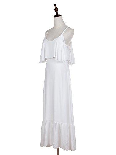 Anna Spaghetti Strap Dress White Maxi V Drape Womens Ruffle Shoulder Kaci Off Neck RrHRT1