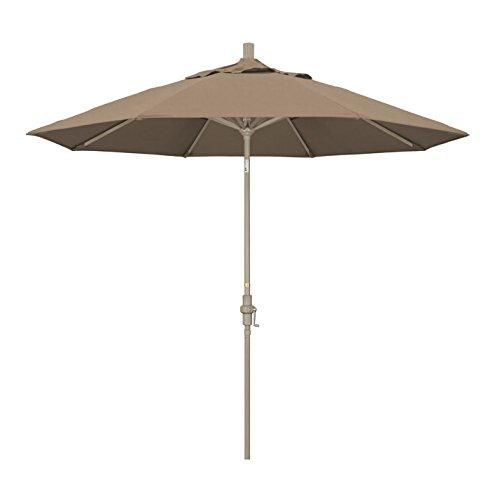 California Umbrella 9' Round Aluminum Market Umbrella, Crank Lift, Collar Tilt, Sand Pole, Sunbrella Camel