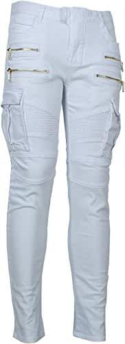 Angel Cola Men's Biker Slim Distressed Washed Cotton Cargo Jeans