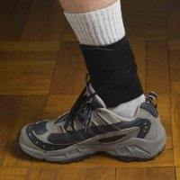 DORSI-STRAP PRO Black. Heavy-duty support for Foot Drop. Comfortable, natural walking in your own shoes, plus sports, working, etc. The smallest, lightest, most flexible, and most comfortable foot drop brace available. Full ankle mobility. Cool year-round
