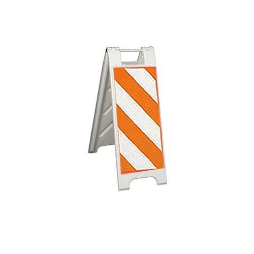 "Plasticade 155-HT12DG-W-CL Minicade Barricade/Sign Stands, 12"" x 24"" Diamond Grade Striped Sheeting, Centerline Striping, White"