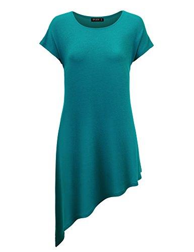 Womens Round Sleeve Asymmetrical T Shirt