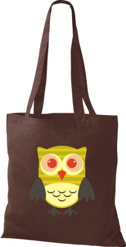 Stoffbeutel Bunte Eule niedliche Tragetasche mit Punkte Karos streifen Owl Retro diverse Farbe braun UOSP0dN
