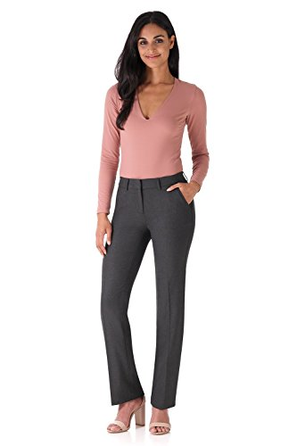 - Rekucci Women's Smart Stretch Desk to Dinner Straight Leg Pant w/Zipper Closure (4SHORT,DK Charcoal)