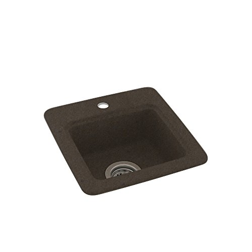 Swanstone BS01515.124 Solid Surface 1-Hole Dual Mount Single-Bowl Kitchen Sink, 15-in L X 15-in H X 5-in H, ()