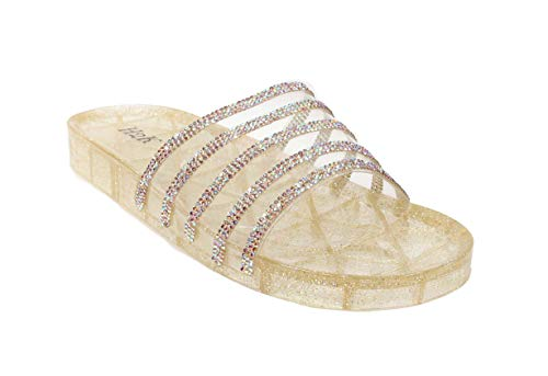 H2K Women's Crystal with Rhinestone Bling Glitter Open Toe Slide Sandal Flat Jelly Shoes Sunny (8 B(M) US, Gold) - Gold Clear Crystal