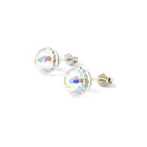 [Sterling Silver Round Disco Shiny Rainbow White Swarovski stud earrings for girls and woman - 8mm - handmade - one pair - Swarovski April] (Princess Tiny Feet Costume)