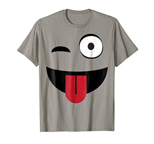 Emoji TShirt One Eye Open Wink Tongue Out -