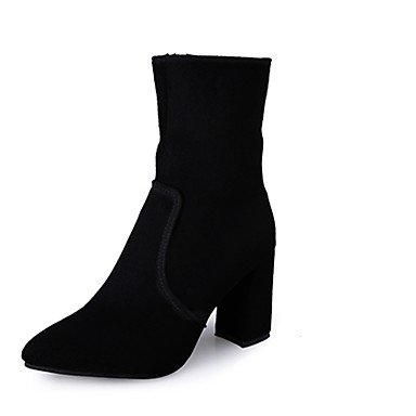 Comfort Toe For CN38 5 Round Heel Pu Women'S RTRY Black Boots Fashion Chunky 5 Shoes UK5 Winter EU38 Casual Boots US7 RSIRgPq