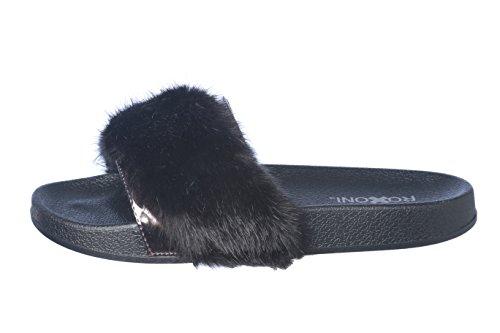 Roxoni Women's Summer Faux Fur and Metallic Open Toe Slide Sandal Slippers by Roxoni (Image #1)