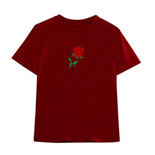 Vovotrade @ Maglietta di Estate delle Donne di Modo Manicotto Corto della Camicetta del Ricamo (S, Rosso)