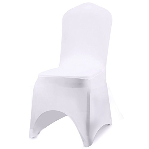 ISWEES Set of 10 PCS White Color Polyester Spandex Chair Covers,Modern Thickening Stretchy Slipcover for Wedding Banquet Anniversary Party Home Decoration - Arc Shaped