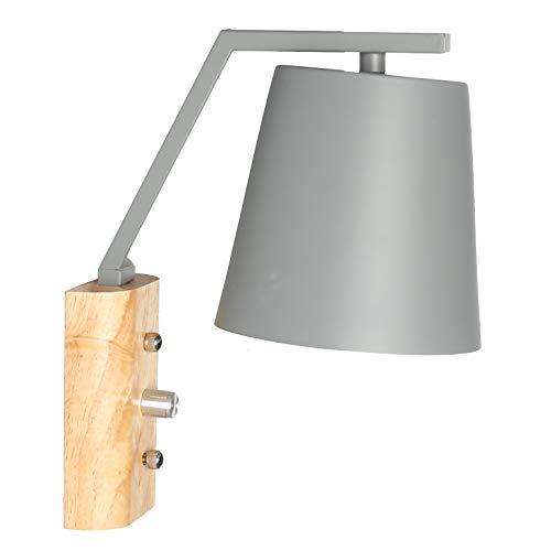 Contemporary Indoor Spotlight - Industrial Wall Light with On Off Switch, Modern Wall Lamp with Grey Metal Shade, E27 Base Indoor Wall Lighting Fixtures for Kitchen Bedroom Living Room
