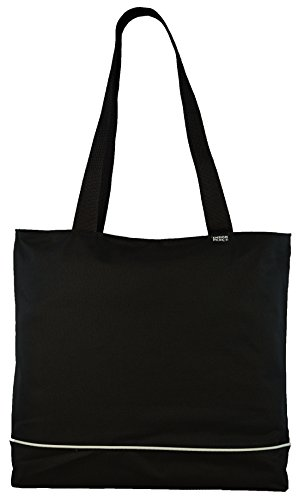 Shoulder Tote Bag with Zipper, Black Black Zipper Tote