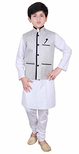 Boys Indian Modi Nehru Gandhi Style Grey Waistcoats in Jute for Bollywood party costume 007 (10 (10 yrs), Grey) -