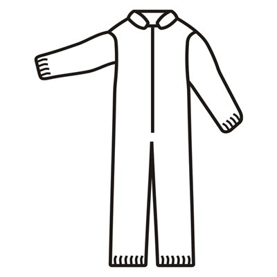 Defender II Standard White Microporous Disposable Coveralls, Elastic Wrists & Ankles(QTY/25) Large MP200L