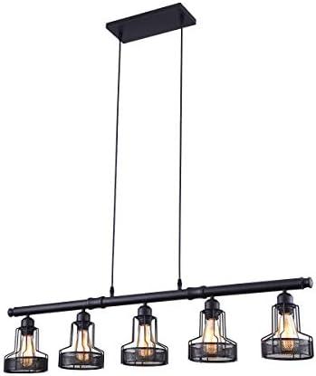 mirrea Rustic Kitchen Island Lights 5 Lights Ceiling Light Fixture Black Painted