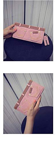 Card multi Pratico Portafoglio Con C Fibbia cellulare Fibbia Donna Pacchetto Cambia Cerniera Borsa card frizione Da C Denim rivetto Home Xinxi Lungo color x8qtwOwZ