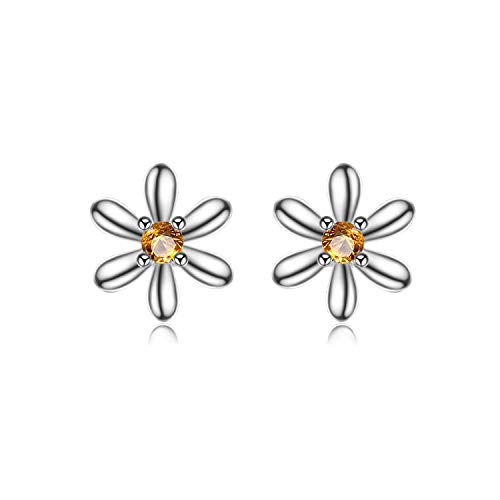 JewelryPalace Flowers 0.1ct Created Orange Sapphire Stud Earrings 925 Sterling Silver