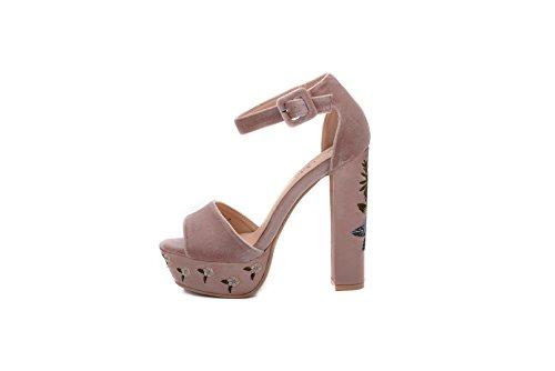 Mila Lady (Kimberly Women's Glamorous Platform Block Chunky Heels, FL/Nude 8 (Block Kimberly)