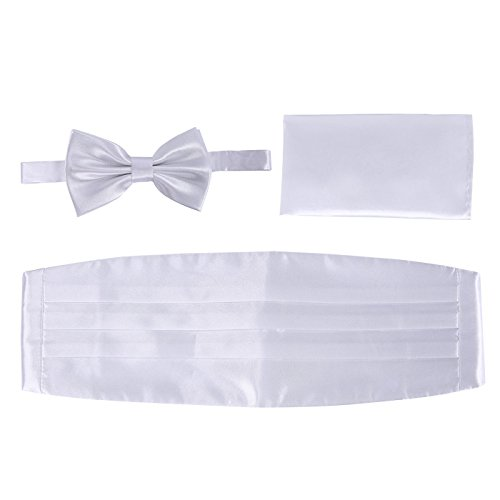 Bow White Satin Pocket Tuxedo Tie and Cummerbund Formal Set Men's HDE Blend Square fYTqwUfC