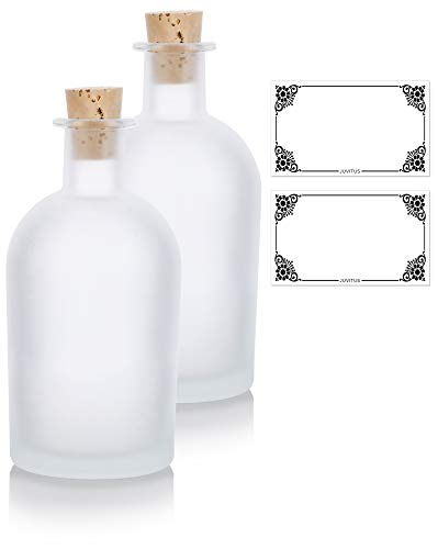 JUVITUS Frosted Clear Glass Decorative Reed Diffuser Bottle with Cork Stopper - 8 oz / 250 ml (2 Pack) + Labels for Home Decor, Aromatherapy, Oils, Events, Holidays, Cosplay, Gifts, DIY Projects