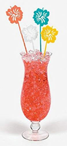 HAPPY DEALS ~ Luau- (75 Pack) Large Hibiscus Drink Stirrers / Picks - 8 inch