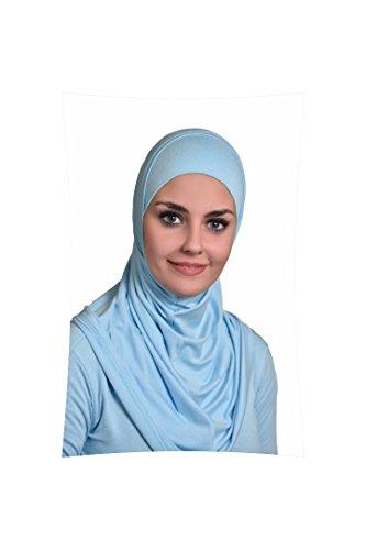 Sky Blue Al Ameera Muslim Hijab Cotton Amira 2 Piece Hood & Hijab Tube Underscarf Cap by Al Amira