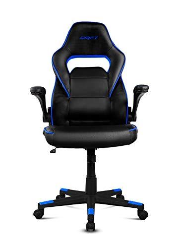 Drift DR75 - Silla de gaming de piel sintética , 66 x 53 x 115-123 cm, Negro y Azul