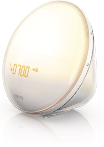 Philips Wake-Up Light Alarm Clock with Colored Sunrise Simulation and Sunset Fading Night Light, White (HF3520) ()