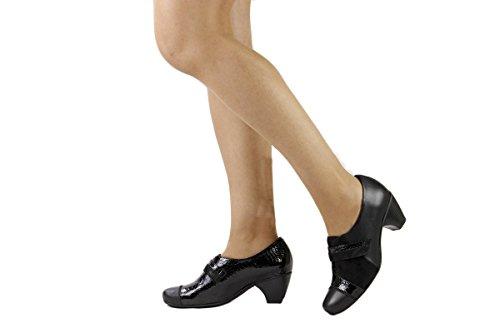 Velcro 175406 Black confort amples Chaussure femme en PieSanto confortables Negro cuir Zq4ZAYwSx