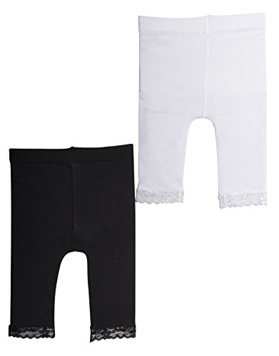 2 Pairs Leggings Baby Girl with LACE | Newborn Short Footless Tights in Microfibre | 50 DEN | Black, White | 12, 18, 24, Months | Italian Hosiery | (24 Months, 1 Pair Black+ 1 Pair White)
