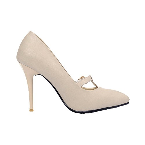VogueZone009 Women's Solid Pu Spikes Stilettos Pointed Closed Toe Buckle Pumps-Shoes Beige RKWkZn0TM