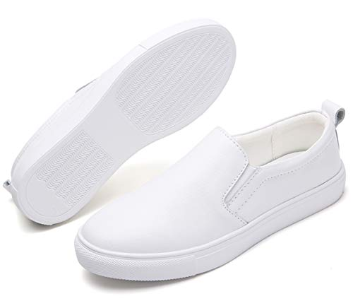 (TSIODFO Women Slip on Loafers Flat Platform Breathable Comfort Walking Shoes Genuine Cow Leather Fashion Sneakers Youth Big Girls Spring Autumn Ladies Casual Oxford Shoes White 8.5 (505-White-41))