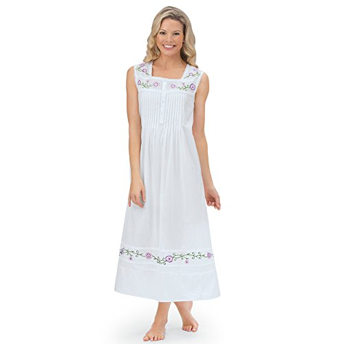 Embroidered Floral Nightgown - Women's Long Cotton Sleeveless Nightgown Pajama with Floral Embroidery & Pintuck Bodice, White, X-Large