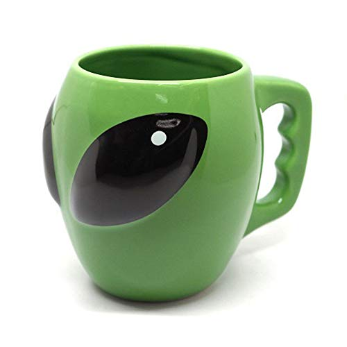 FLY SPRAY Alien Shaped Coffee Mug Ceramic Funny Novelty Unique Cool Cartoon Drinks Cup for Juice Milk Or Tea ET Mug Idea for Kids Green 14 oz (Cool Mugs Tea)