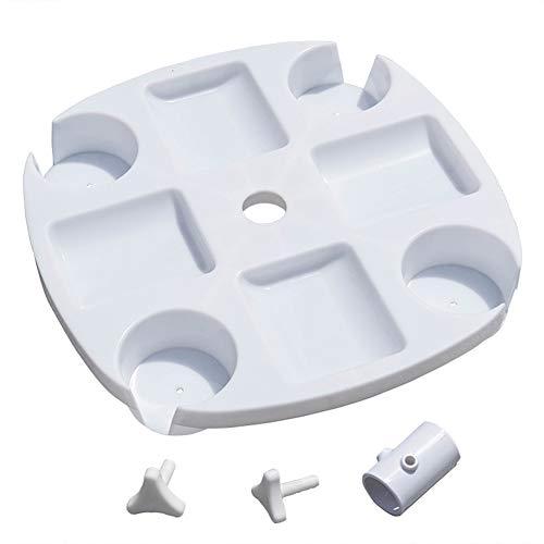 Sundale Outdoor Umbrella Table Beach Patio Accessory Table Heavy Duty, 17in Diameter, White (Accessories Umbrella)