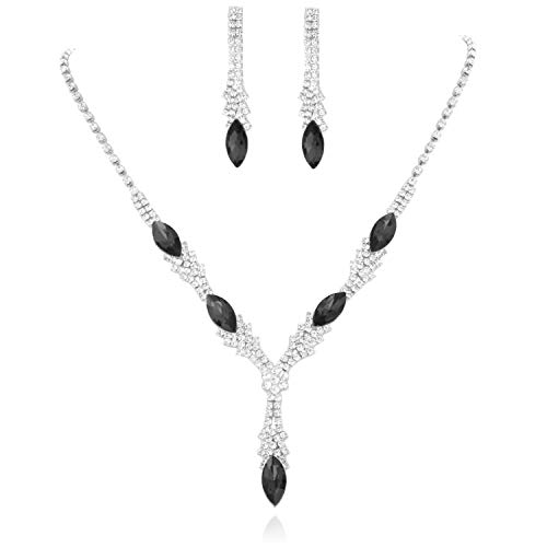 Black Silver Necklace Rhinestone - SP Sophia Collection Fancy Y Jewelry Marquise Drop Necklace and Earrings Set in Silver Black