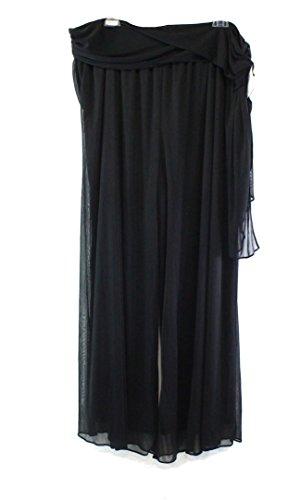 Alex Evenings Deep Women's Plus Wide Leg Chiffon Pants Black 3X