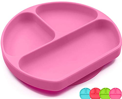 SiliKong Silicone Suction Plate For Toddlers, Dishwasher, Microwave and Oven Safe, Non Slip, One-piece Divided Baby Placemat, Stay Put Bowls Feeding Dishes For Kids / Infant (Pink)