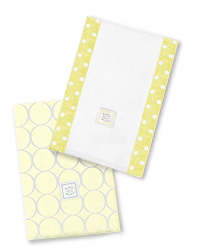 SwaddleDesigns Baby Burpies, Set of 2 Cotton Burp Cloths, Sterling Mod Circles on Sunwashed Yellow