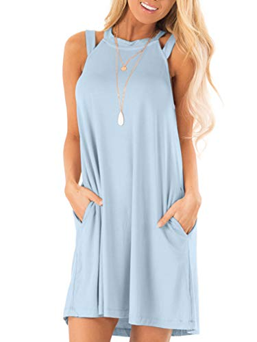 LAGSHIAN Women's Summer Casual Loose Sleeveless Swing T-Shirt Dress with Pocket Sky Blue