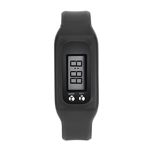 Teresamoon watch , Digital LCD Display Pedometer Step Counter Auto Sleep Watch (Black)