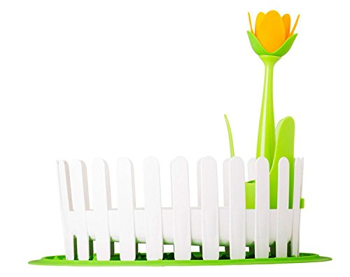 Vigar Flower Power Dish and Cutlery Drainer Set With Silicone Dish Mat, 17-1/4-Inches by 14-Inches by 14-Inches, Green, White, Yellow -