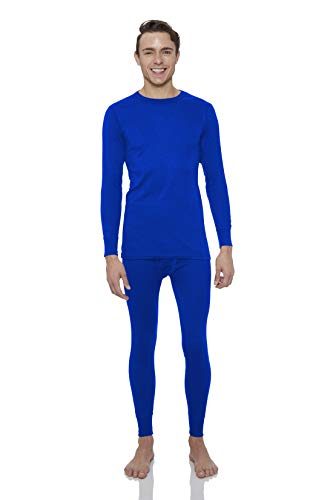 Rocky Thermal Underwear for Men Top & Bottom Set Long John Ultra Soft Smooth Knit (XLarge, Royal Blue)