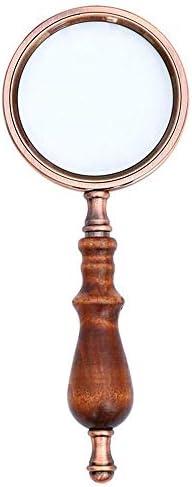 ZY-YY ガラスメタリックルーペ木製ハンドルヴィンテージ読書拡大鏡ハイエンドハンドヘルド光学ガラスガラス、読書のためのブロンズ10倍拡大ミラーツール拡大鏡