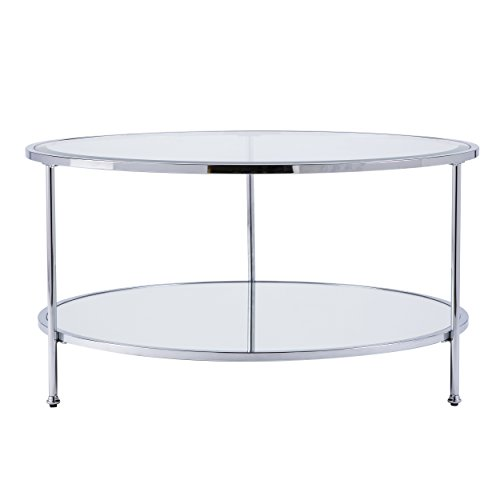 Furniture HotSpot - Round Metal and Glass Coffee Table - Chrome - 33.75